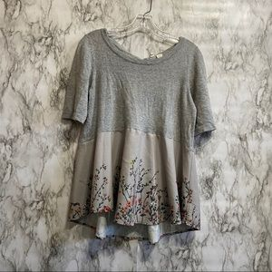 Grey Top With Flowing Flower Material On Bottom